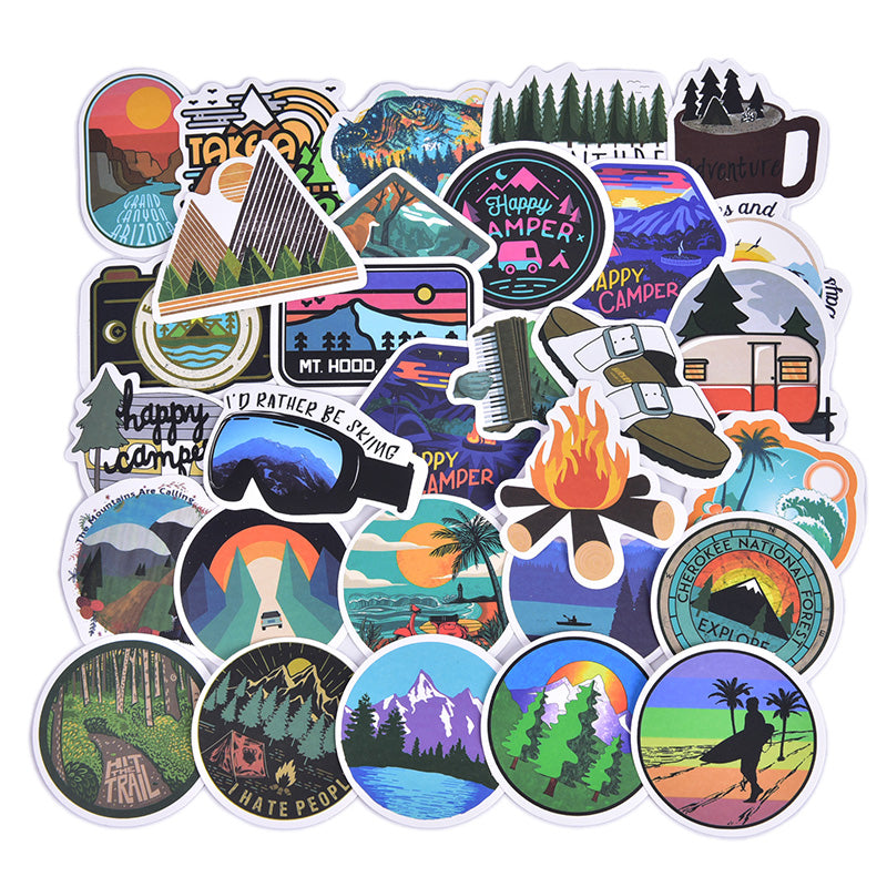 50pcs Outdoor Summer Travel Skateboard Stickers Laptop Luggage Decals Sticker