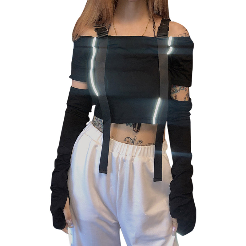 Reflective Off Shoulder Tshirt Bag Buckle Sexy Tops Women Summer Streetwear Tees