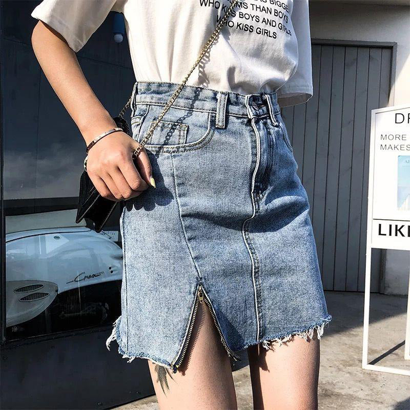 Summer Womens Mini Denim Skirt High Waist Casual Korean Zipper Side Slit Skirt