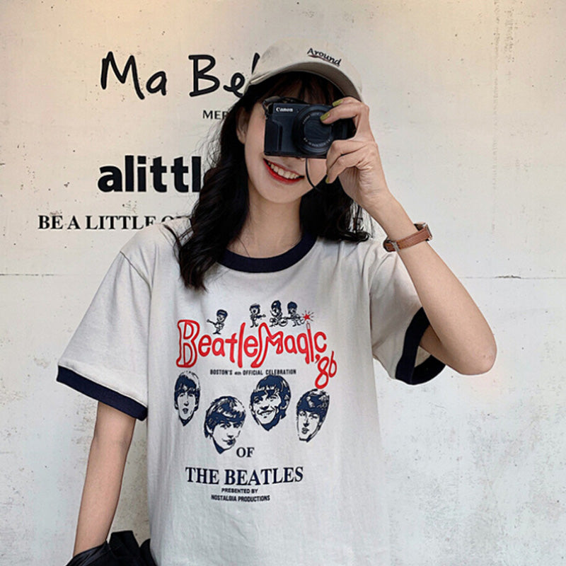 Fashion T Shirt Woman Summer Print O Neck Women Harajuku Top Slim Soft Tshirt