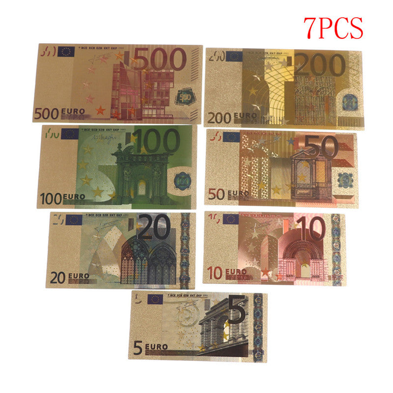 7pcs Euro Banknote Gold Foil Paper Money Crafts Collection Note Currency