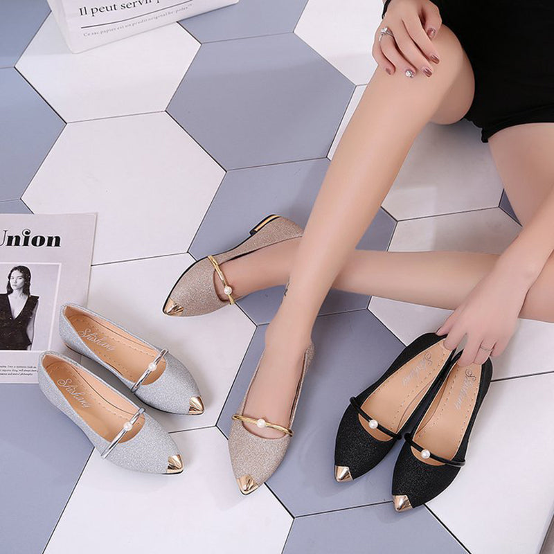 Elegant Women Pointed Toe Low Heels Frosted Shoes