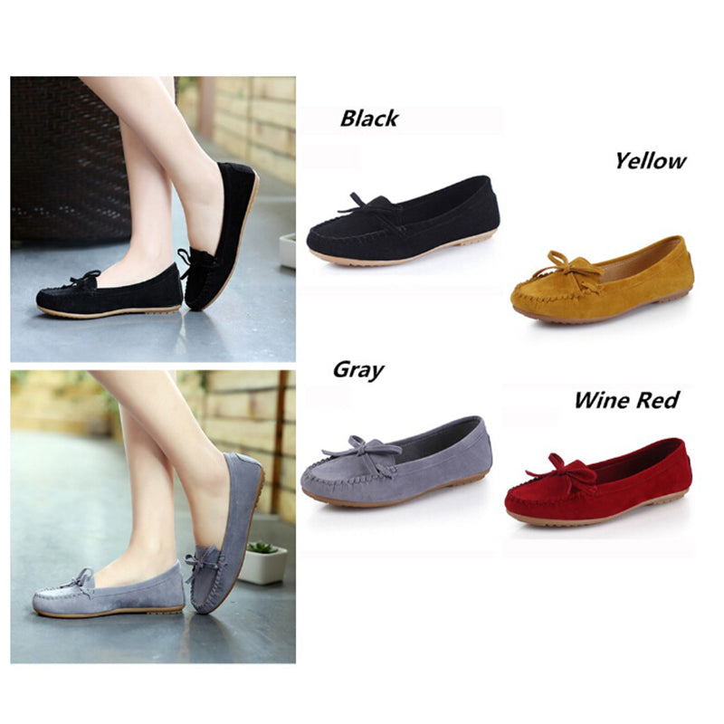 Women Bowknot Shoes Flat Low-top Pumps Round Toes Loafer