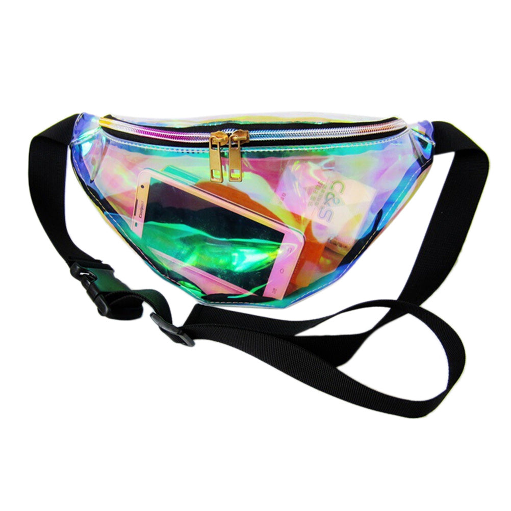 Punk Lady Girl Retro Rainbow Transparent Fanny Pack Bum Women Purse Waist Bag