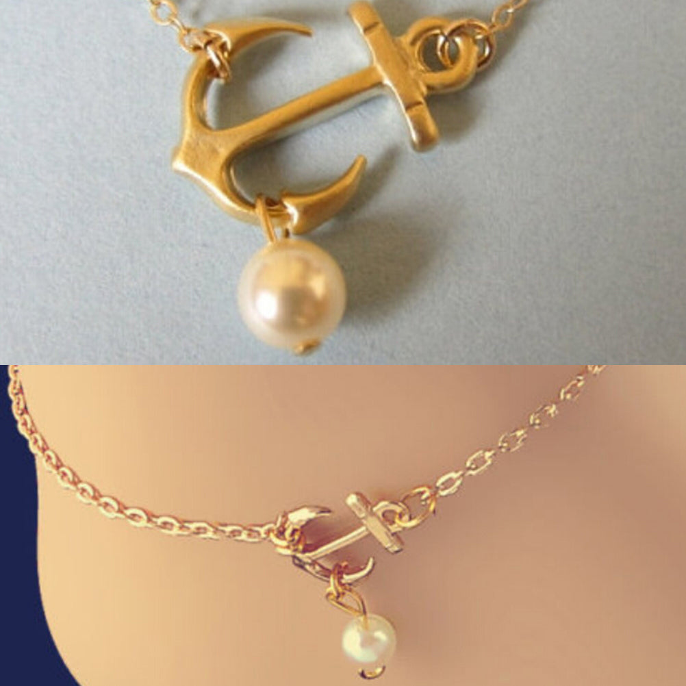 Charm Anklet Anchor White Pearl Bead Bracelet Ankle Foot Sandal Chain