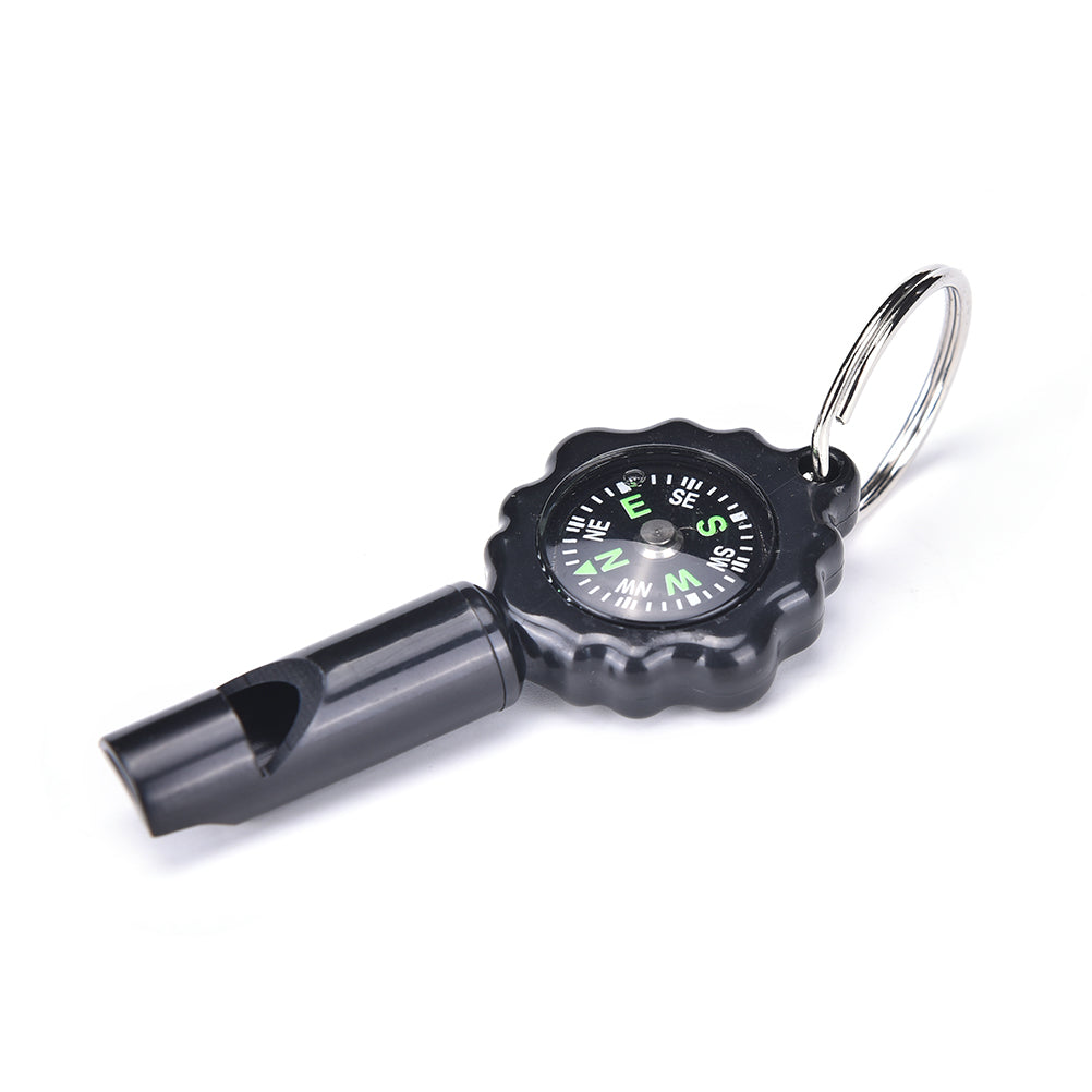 Camping Survival Whistle Compass Thermometer LED Flashlight