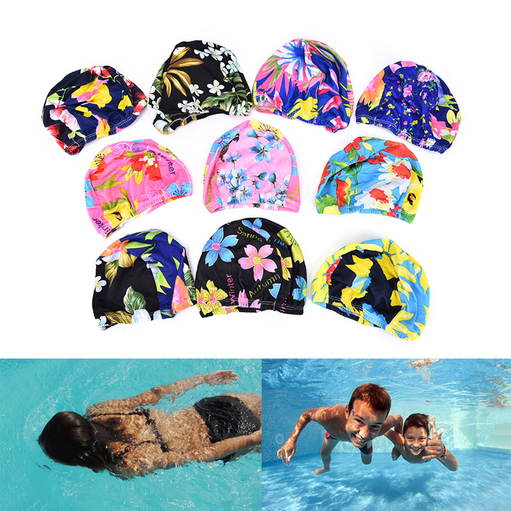 Women Floral Waterproof Spandex Stretch Swimming Cap Bathing Hat