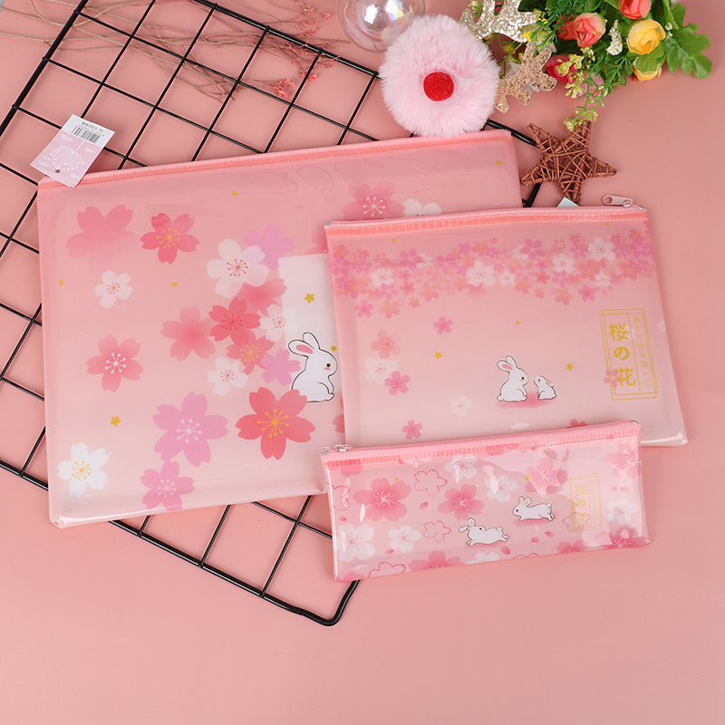 File Bag Sakura Rabbit Zipper Mesh  Document Bag File Folder Stationery Filing