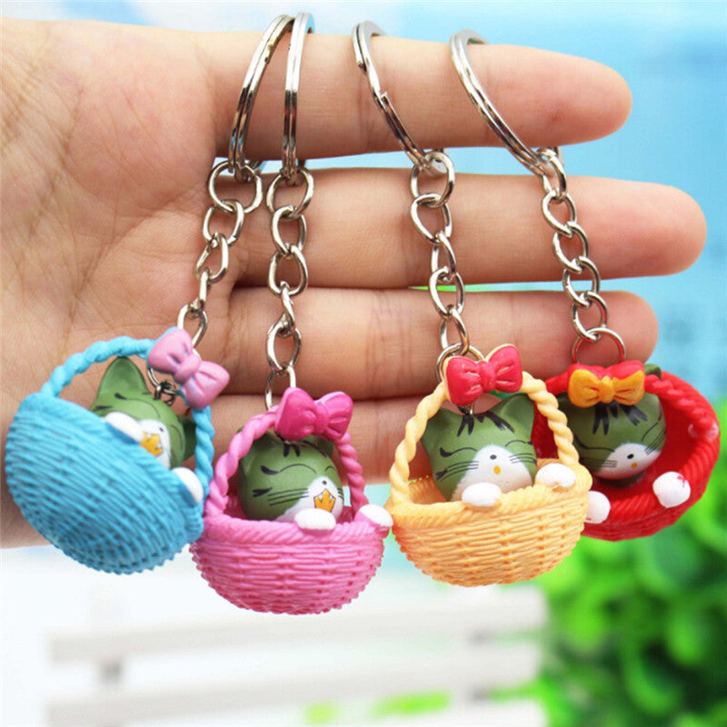 Cartoon Basket Cat  Keychain Pendant Keyring Gift  Bag Purse Key Chain Jewelry