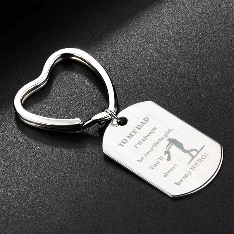 Engrave Letter Heart Dog Tag Pendant Keychain Keyring Father's Day Gifts Jewelry