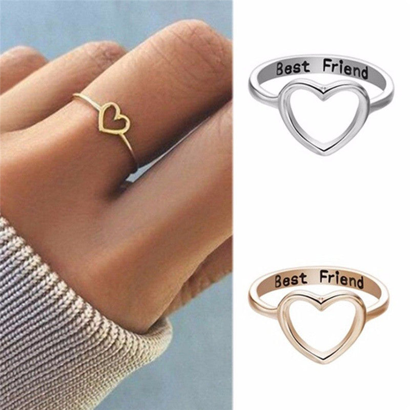 Best Friends Heart Finger Ring Knuckle Ring Friend Love Jewelry Gifts Unisex