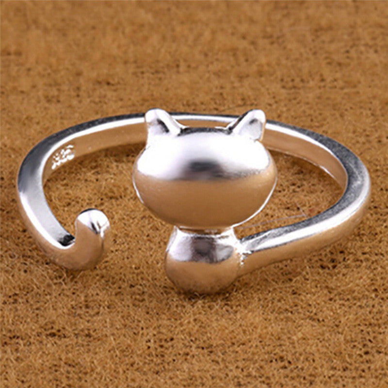 Silver Plated Opening Adjustable Ring Lovely Cat Ring Women Statement Jewelry