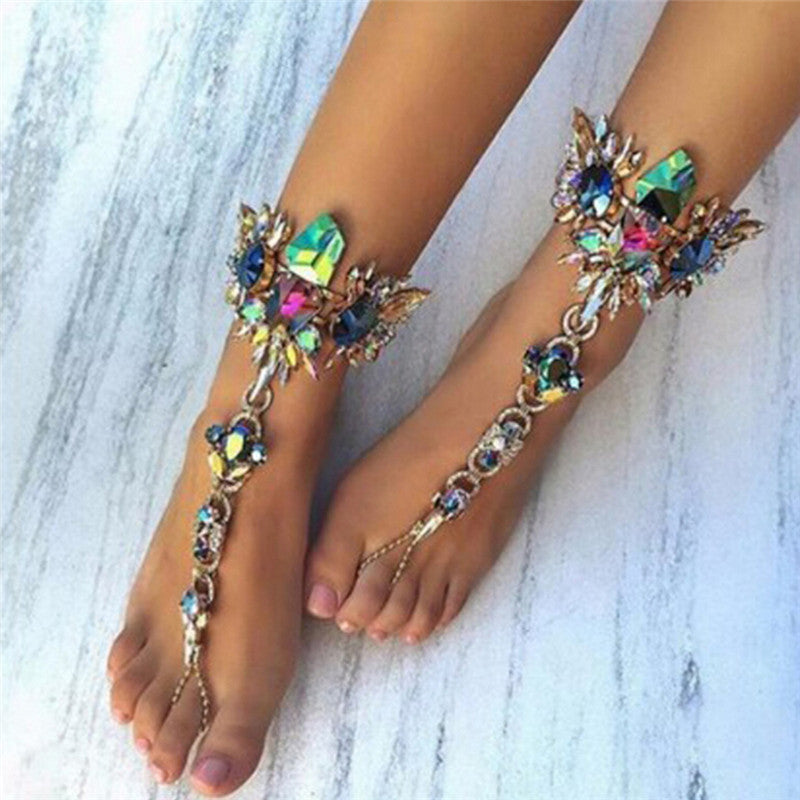 Fashion Crystal Anklets Chain Bracelet Women Barefoot Sandal Beach Foot Jewelry