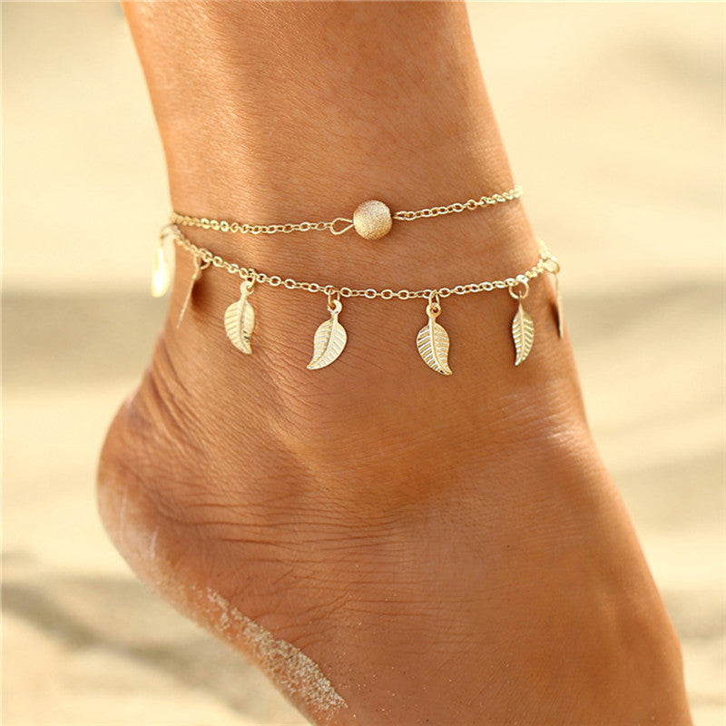 Boho Leaves Pendant Anklet Barefoot Beach Sandal Anklet Foot Chain Women Jewelry