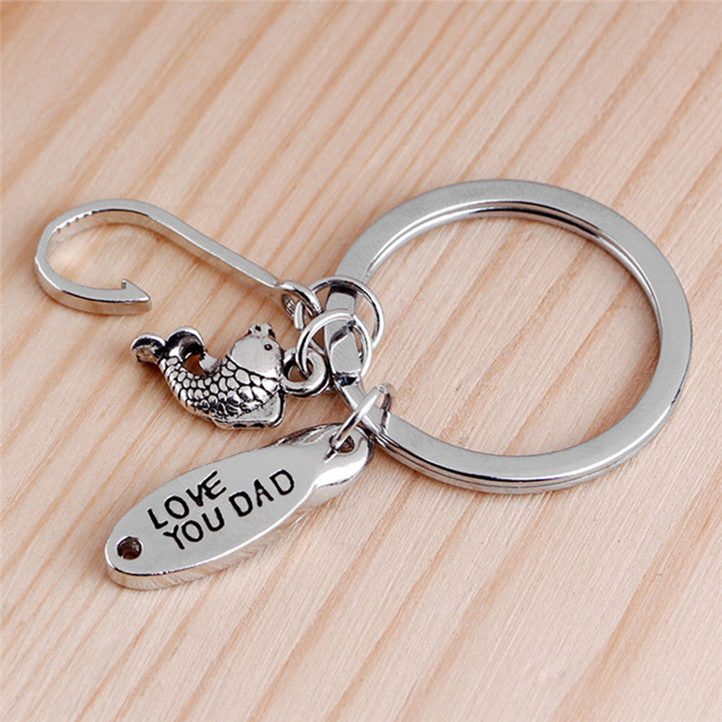 Father's Day Gift Keychain Hook Fish Love You Dad Keyring Key Chain Ring Jewelry