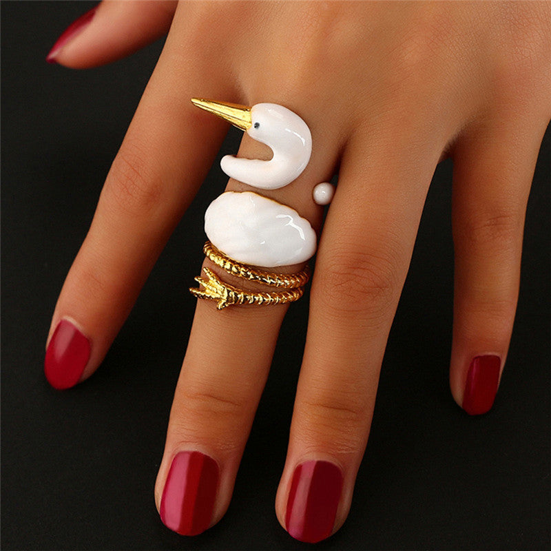 3PCS/ Set Women White Swan Wrap Band Ring Opening Animal Knuckle Ring Jewelry