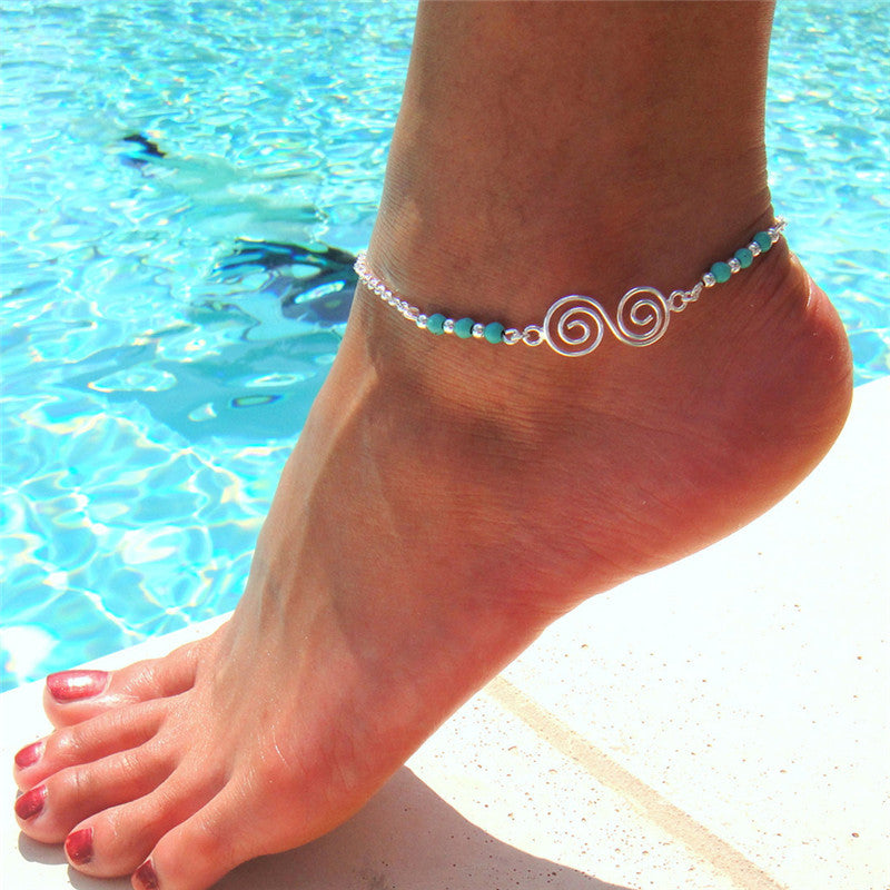 Bohemian Turquoise Ankle Bracelet Women Beads Anklet Foot Jewelry Chain Beach