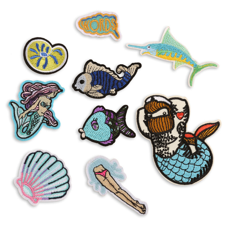 Mermaid Embroidery Sew Iron On Patch Badge Bag Clothes Fabric Applique Patch