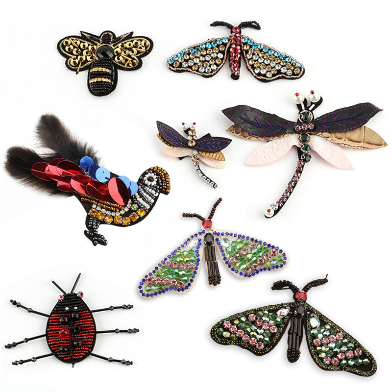 Insect Bee Butterfly Patches Applique Sequins Shoes Rhinestone Cloth Accessory
