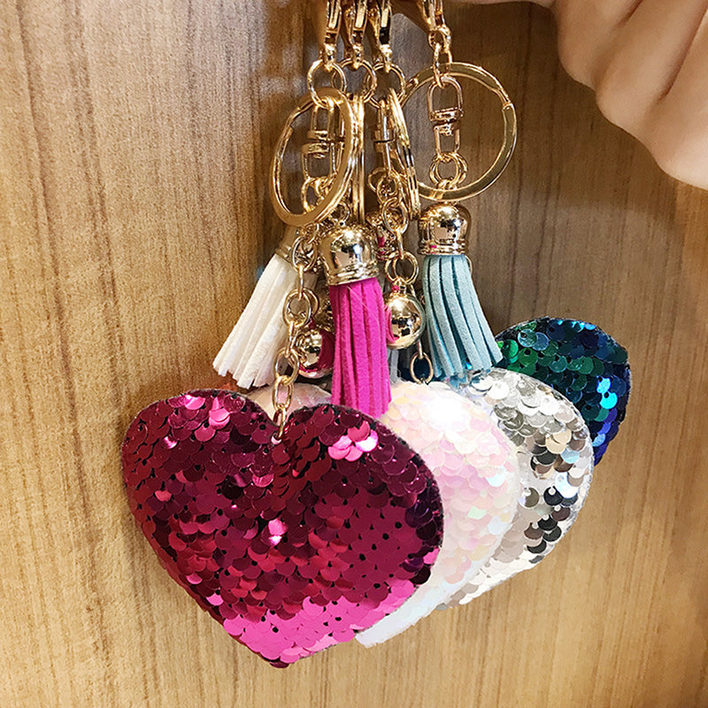 Heart Sequins Handbag Charm Pendant Keychain Bag Keyring Key Chain Jewelry