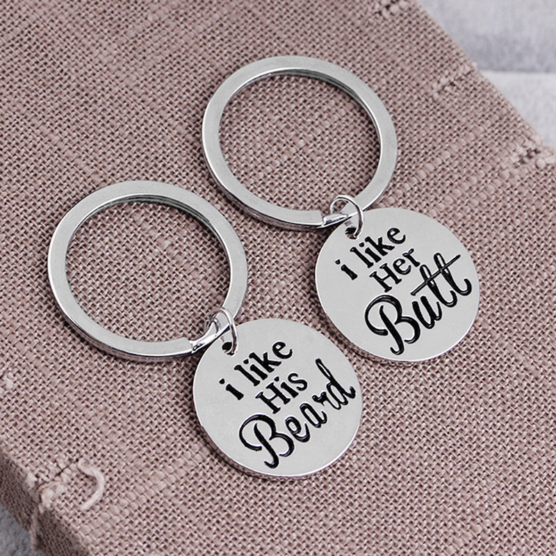 2PCS/Set I Like His Beard and Her Butt Funny Couple Key Chains Ring Love Gift
