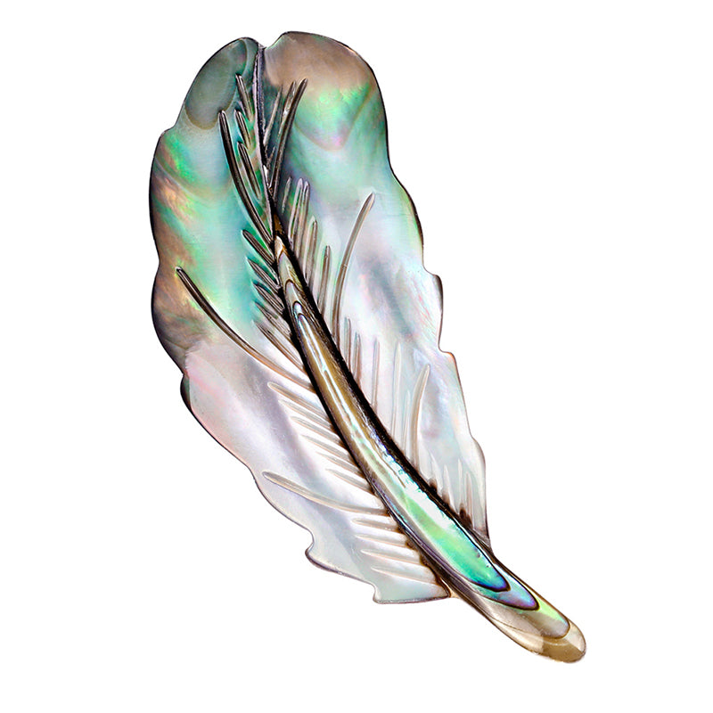 Natural Shell Feather Brooch Pin Shirt Collar Pin Banquet Women Jewelry Gifts