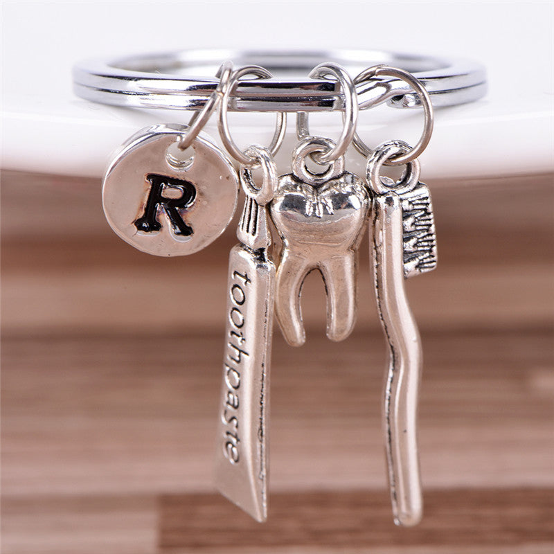 Dentist Key Ring Toothpaste Tooth Toothbrush Dental Hygienist Initial Key Chain