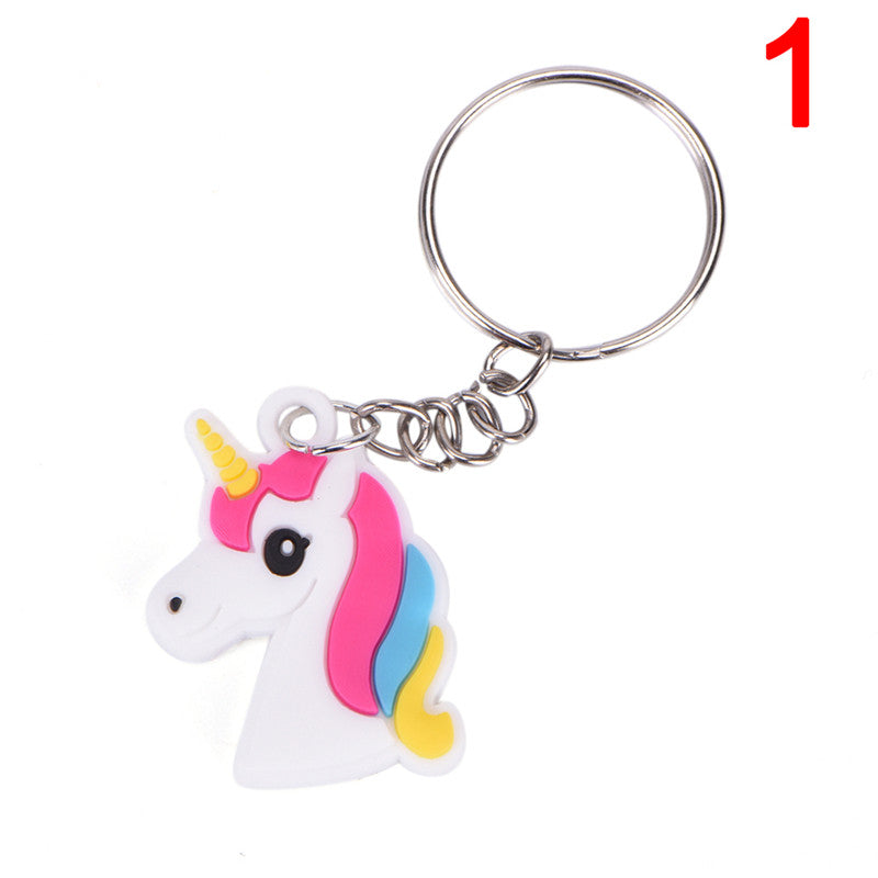 Magical Silicon Unicorn Pendant Keychain Decorations Party  Key Ring Bag Pendant
