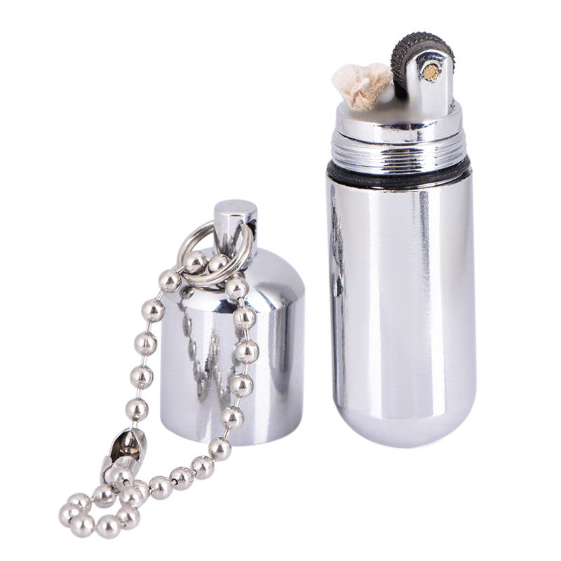 Fire Starter Capsule Flint Keychain Keyring Gas Lighter Match NO Fuel Camp Tool
