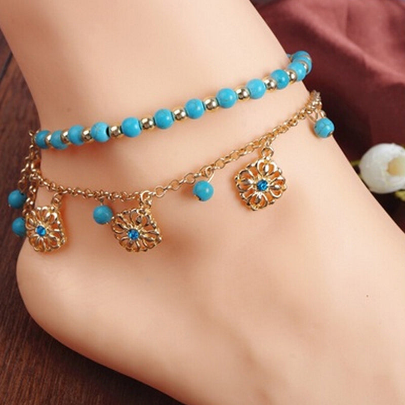 Hot Punk Boho Turquoise Beads Anklets Tassels Bracelet Womens Foot Chain Anklet