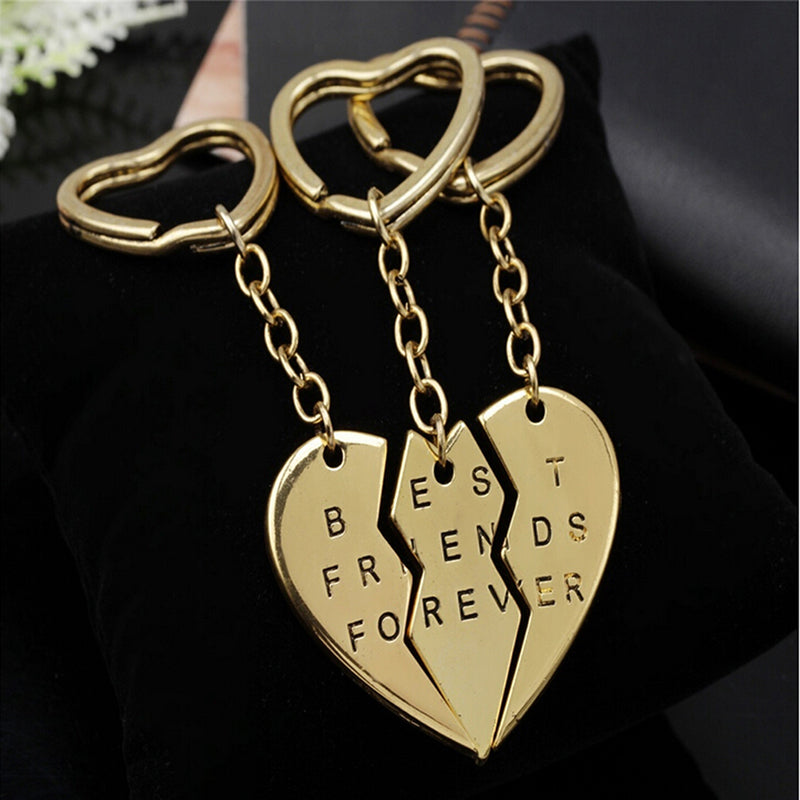 3x Broken Heart Silver Pendant Keyring Keychain Key Chain Friendship Family Gift