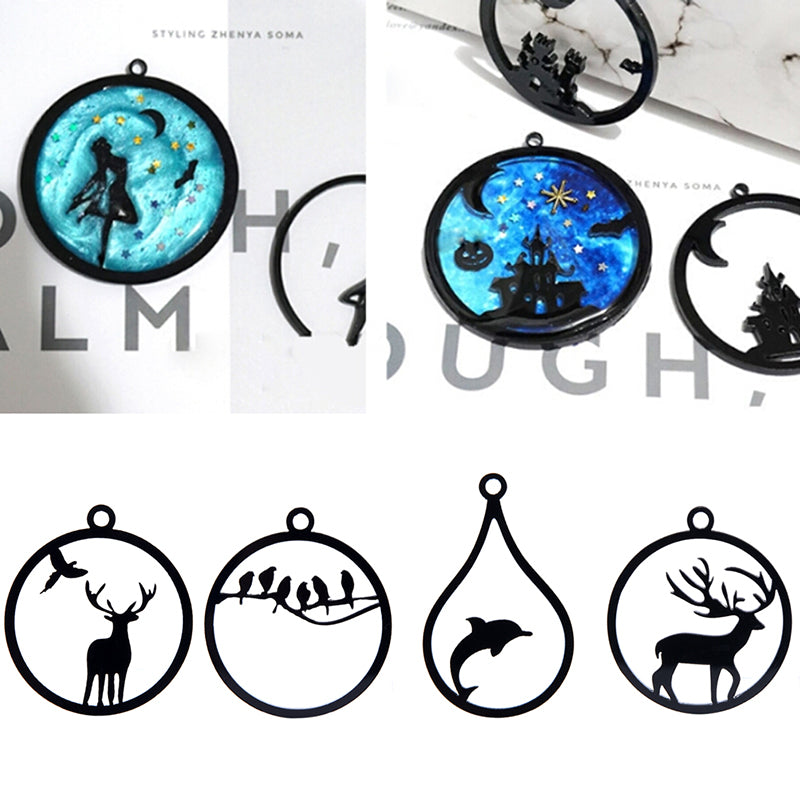 10Pcs Acrylic DIY Animal Frame Open Pendant Bezel Setting UV Resin Jewelry Charm