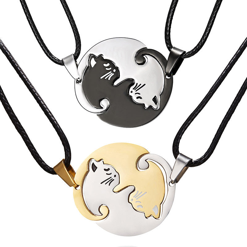 2Pcs/Set Cute Couples Animal Cat Heart Pendants Chain Necklace Jewelry Gift