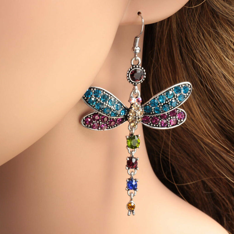 Woman Dragonfly Crystal Rhinestone Silver Plated Drop Dangle Hook Earrings Gift