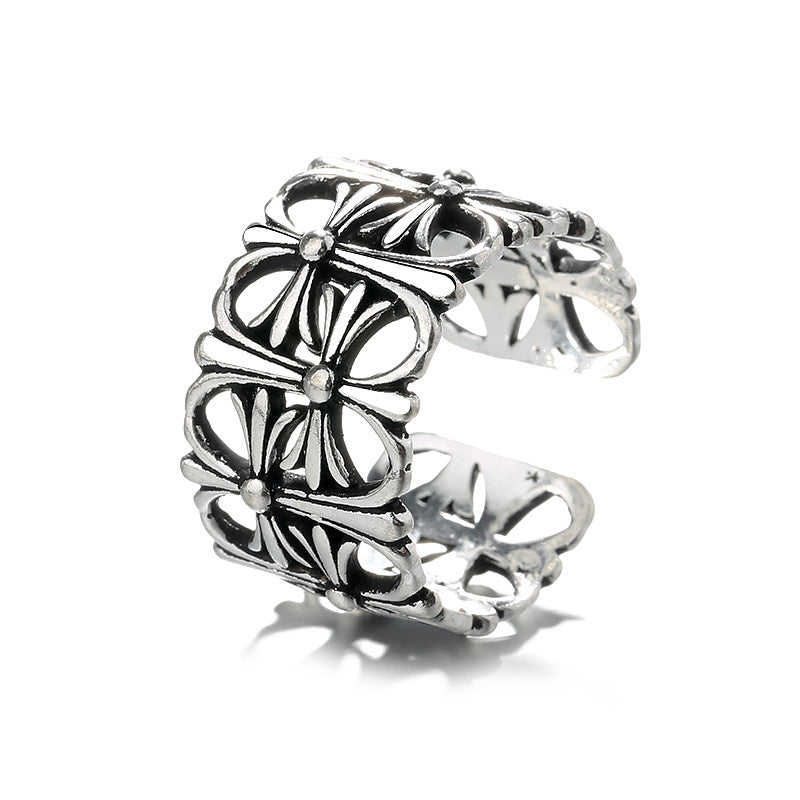 Vintage Women Silver Plated Cross Open Finger Rings Adjustable Punk Ring Gift