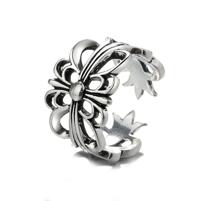 Vintage Punk Cross Flower Open Adjustable Knuckle Ring Unisex Jewelry Gift