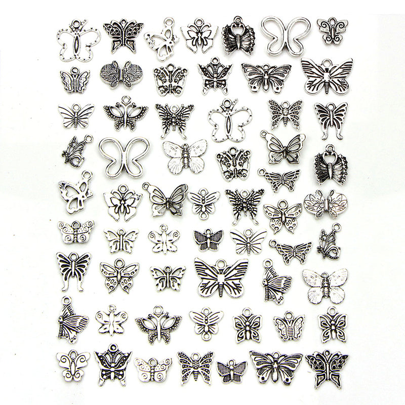 60Pcs/Set Vintage Tibetan Silver Mix Charm Butterfly Pendants Jewelry DIY Crafts
