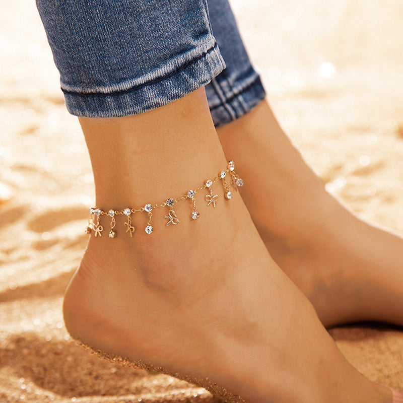Fashion Crystal Rhinestone Anklet Charm Ankle Chain Bracelet Foot Sandal Jewelry