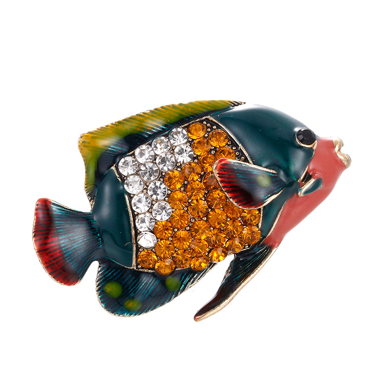 Enamel Fish Animal Crystal Rhinestone Brooch Pin Weddings Banquet Party Jewelry