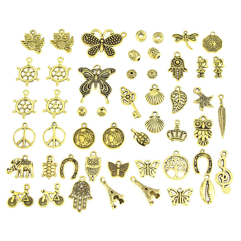 Vintage 50pcs/pack Mixed Shapes Charms Pendants DIY Crafts Gold Jewelry Findings