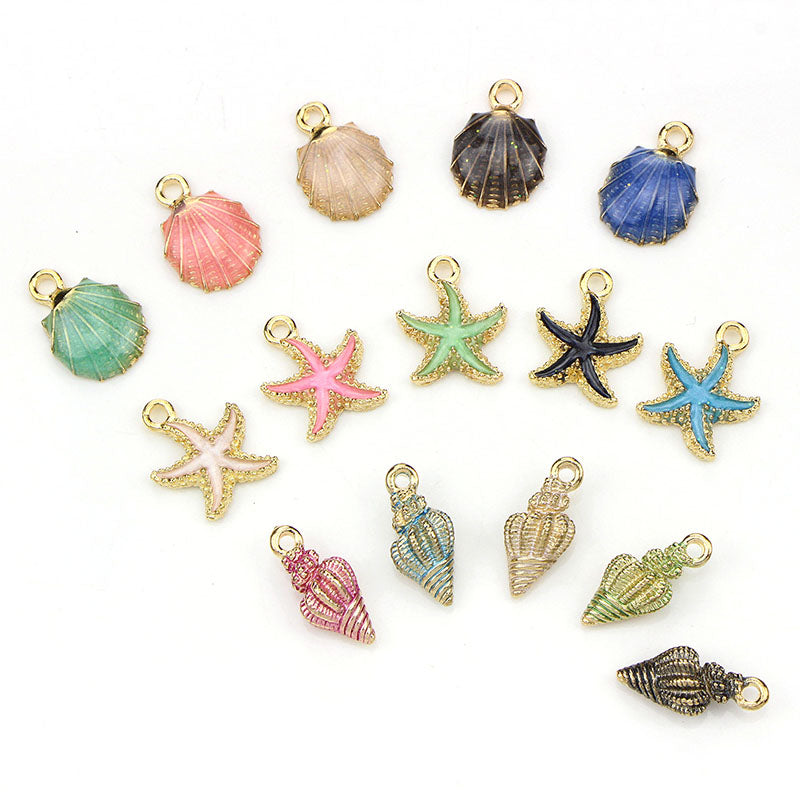 15PCS Enamel Starfish Shell Conch Pendants Charms Craft DIY Jewelry Findings