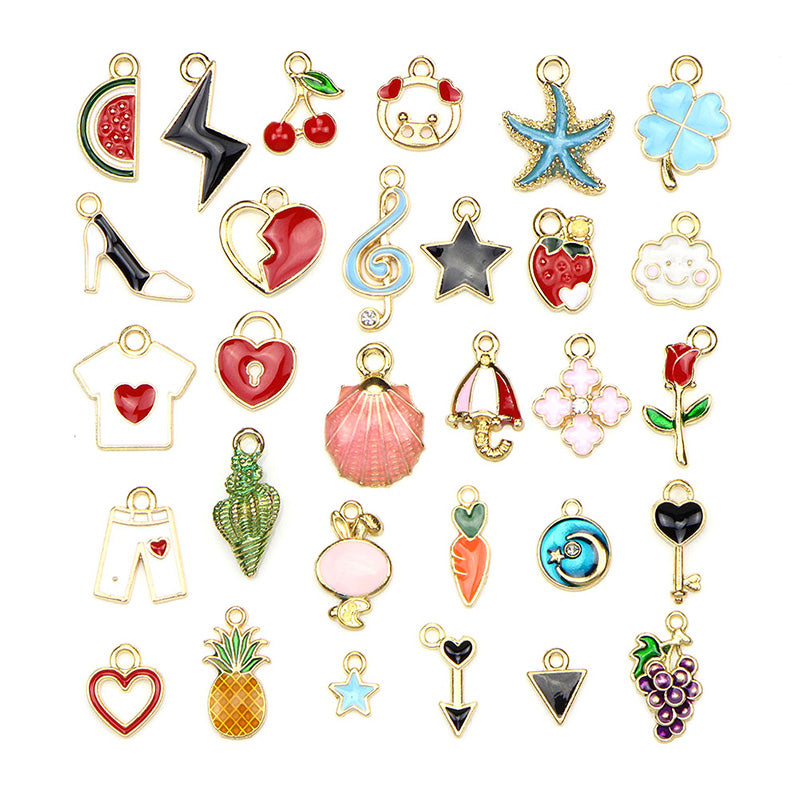 30PCS/Set Mixed Enamel Metal Charms Pendant DIY Craft Jewelry Making Findings