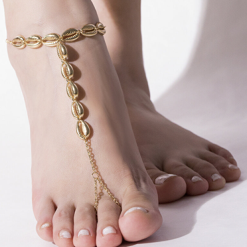 Boho Shell Beads Toe Ring Anklet Chain Barefoot Sandals Beach Women Foot Jewelry