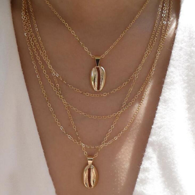 Women Vintage Shell Pendant Chain Boho Multilayer Necklace Charm Choker Jewelry