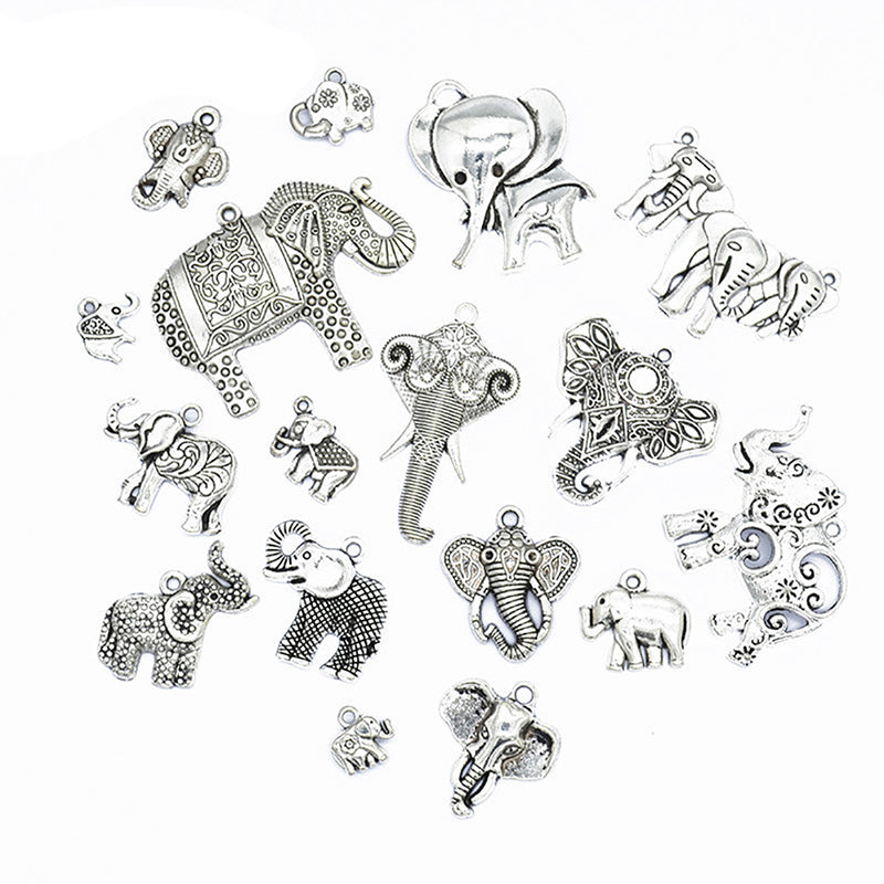 17Pcs/Set Mixed Vintage Silver Elephant Charms Pendant DIY Craft Jewelry Making