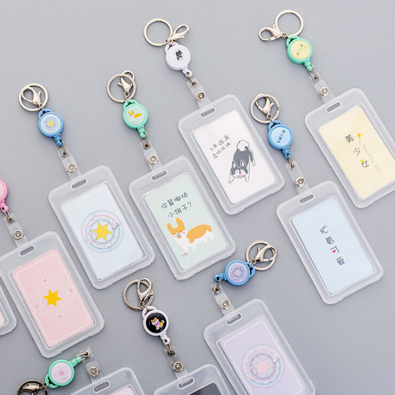 Durable Plastic ID Card Holder Card Pocket Case Badge With Keychain Key Ring