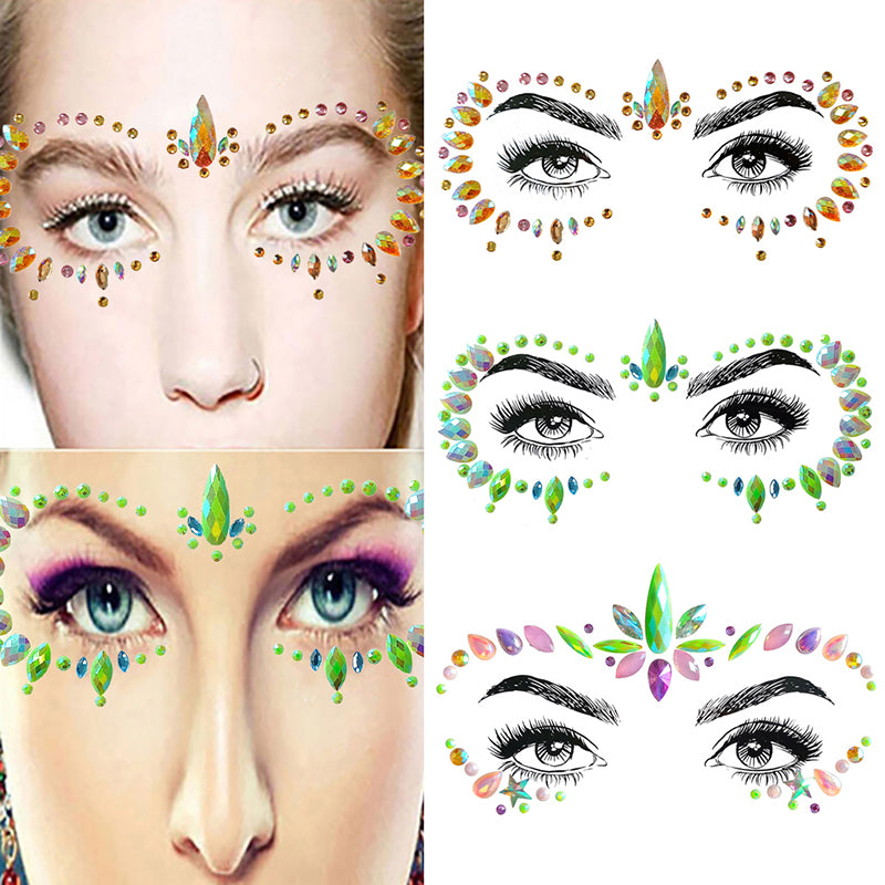 1 Sheet Face Body Adhesive Glitter Stickers Tattoo Gems Rhinestone Jewels Party