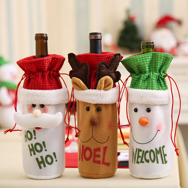 1Pcs Drawstring Red Wine Bottle Cover Bags Santa Claus Christmas Decoration Xmas