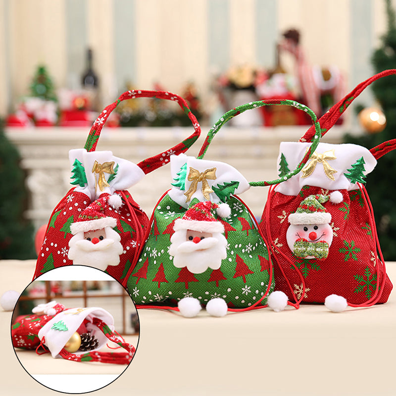 Christmas Candy Party Gift Bag Decorations Xmas Storage Packing Wrapper Supplies
