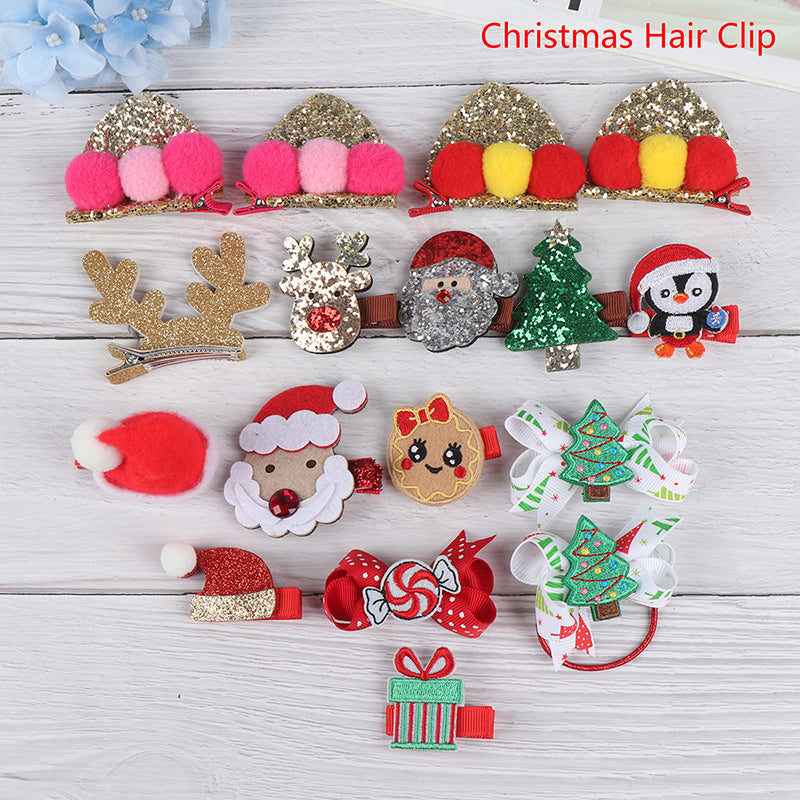 Children'S Xmas Christmas Cartoon Hair Clip Hairpin Barrette Christmas Tree Clip